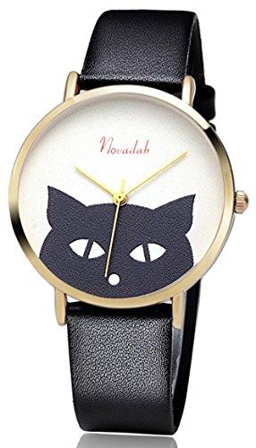 Novadab Cat's Eye Leather Band Luxury Quartz Watches Girls Ladies Wristwatch (Black) from NOVADAB