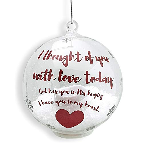 BANBERRY DESIGNS in Loving Memory Ornament - LED Glass Ball Ornament with Candle - Light Up Memorial Keepsake - I Thought of You with Love -