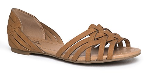 J. Adams Wendi Woven Flat – Comfortable Casual Strappy Peep Toe D'Orsay Sandal ()