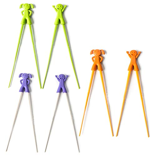 6 Pcs Training Chopsticks, Easy To Use Safe And Non-Toxic Fun Helper, For Kids Beginners Baby, 3 Color