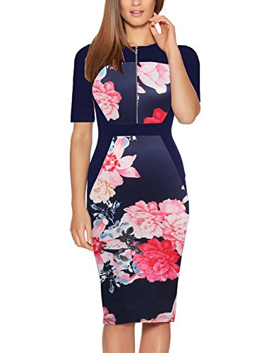 Fantaist Half Sleeve Color Block Business Office Midi Day Dress for Women Casual (S, FT601-Navy Half)