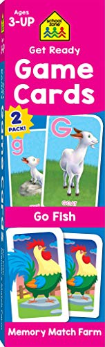 School Zone - Get Ready Game Cards Go Fish & Memory Match Farm 2 Pack - Ages 3 and Up, Alphabet, ABCs, Uppercase and Lowercase Letters, Matching, Pairing, Memory, and More ()