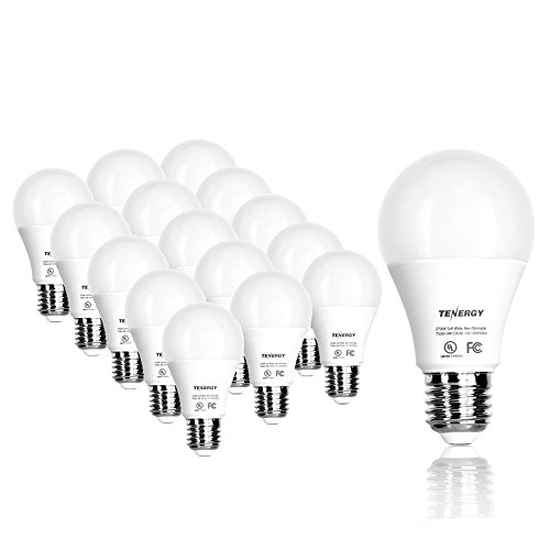 Tenergy 9W LED Bulb 60 Watt Equivalent A19 LED Light Bulbs, E26 Household Lightbulb, 750 Lumens Energy Saving Lamp Soft/Warm White 2700K Lights, 220°Beam Angle, 16-Pack, Non-Dimmable