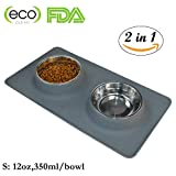 Dog Bowls, Stainless Steel Pet Food Bowl, Cat Water Bowls with No-Spill Anti-Slip Silicone Mat for Medium or Small Dogs or Cats, Set of 2 Bowls (S, Gray) Review
