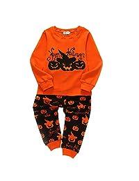 ALLAIBB 2Pcs Kids Halloween Outfit Long Sleeve Tee Shirt+Stretch Pants Pumpkin Print
