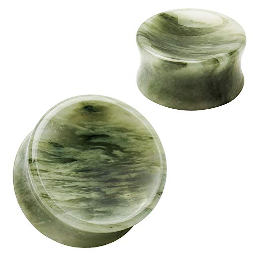 Pierced Owl Natural Green Line Jasper Concave Stone Saddle Plugs, Sold as a Pair (8mm -