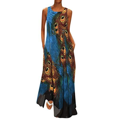 TLTL Women Plus Size Vintage V Neck Splicing Floral Printed Sleeveless Maxi -
