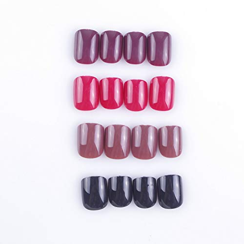 Laza 96 Pcs Colorful Fake Nails, 4 Pack Umber Chili Black Full Cover Square Short UV Coat Artificial Acrylic Nails - Garnet Red [No Glue Included]