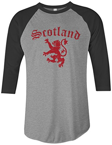 Raglan Banner (Threadrock Lion of Scotland Unisex Raglan T-shirt L Gray/Black)