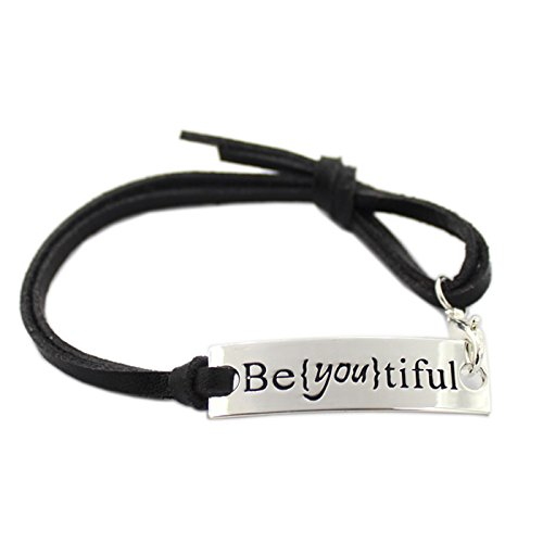 L.Beautiful Women Set of 3 Pcs Inspirational Leather Bracelets Engraved Message Motivational Charm Expandable Friendship Bracelet with Gift Box (Black)