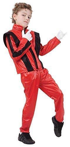 Boys Red Music Celebrity Famous Person King of Pop 1980s 1990s Fancy Dress Costume Outfit 4-14 Years (4-6 Years)