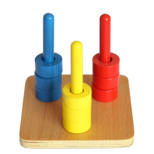 Montessori Colored Discs on 3 Colored Dowels ()