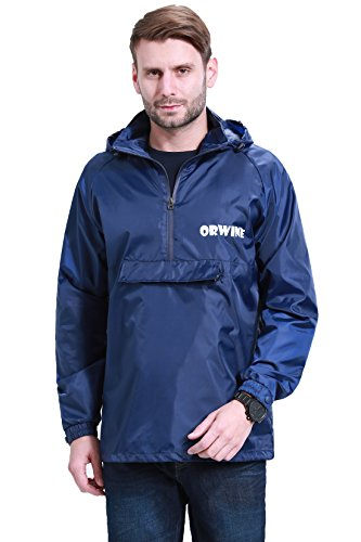 ZDHGLOBAL Men's Women's Lightweight Packable Portable Rain Jacket with Invisiable Hood and Front Pocket for Outdoor Activity 2XL navyblue ()