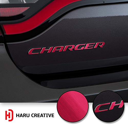 (Haru Creative - Rear Bumper Trunk Emblem Overlay Vinyl Car Decal Sticker Compatible with and Fits Dodge Charger 2015 2016 2017 2018 2019 - Metallic Brushed Aluminum Pink)