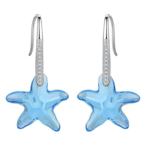 g Silver CZ Starfish Hook Earrings Aquamarine Color Made with Swarovski Crystals ()