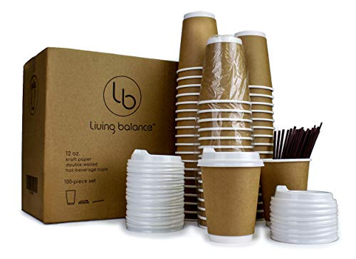 100 Pack - 12 oz To Go Coffee Cups with Lids & Stirrers | Disposable & Recyclable Kraft Brown Paper Travel Cups - Double-Layer Insulation, Sleeve-Free design.
