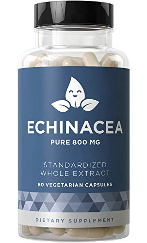 ECHINACEA Pure 800 MG - Healthy Immunity Function, Physical Wellness, Potent Strength for Seasonal Protection - Full-Spectrum & Standardized - 60 Vegetarian Soft Capsules Echinacea Angustifolia Standardized Extract