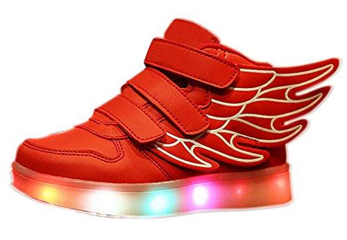 SMITHROAD Unisex 7 Farbe Farbwechsel USB Aufladen LED Leuchtend Sport Schuhe Sneaker Turnschuhe Flügel Design für Jungen Mädchen Rot