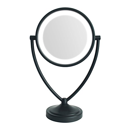 Gloriastar Round Shaped Natural Daylight Double-Sided Lighted Makeup Mirror; 1x/5x magnification (Oiled - Round Mirror Bronze