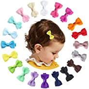 """20pcs Baby Hair Clip 2"""" Small Hair Bows Fully Lined Barrettes Hair Accessories for Girls Infants Toddlers"""