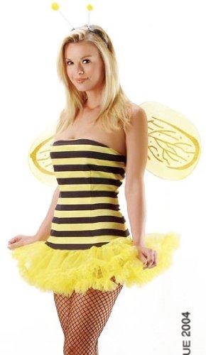 Leg Ave Women's Honey Bee Costume, Black/Yellow, X-Small -