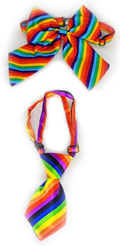 Pet and Human Owner Matching Halloween Costumes, Bright Rainbow Clip On (Matching Dog And Human Halloween Costumes)