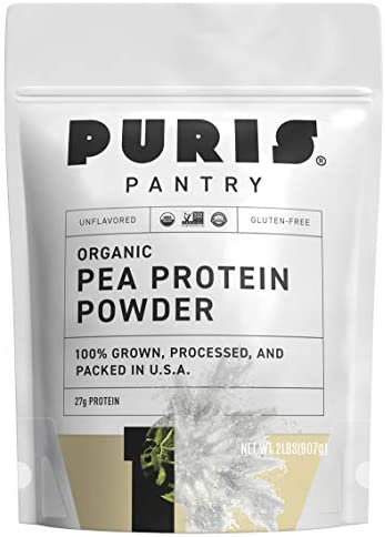 PURIS Organic Pea Protein Powder - 100% Grown, Processed and Packed in USA - 2 LB Unflavored - Certified Organic, Vegan, Gluten-Free, Non-GMO - Plant Based Protein Powder - Keto-Friendly, BCAA 1