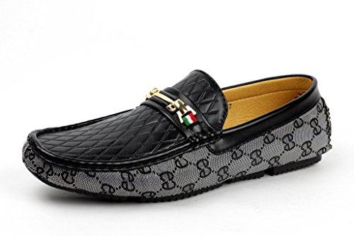HOMBRE SIN CIERRES Diseño Mocasines Conducción Zapatos Casual Náuticos MOCASIN JAS moderno Negro