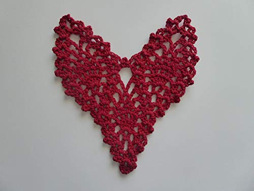 (Set of 3 Crocheted Heart Pineapple Motif. Valentine. Red. Optional Starching)