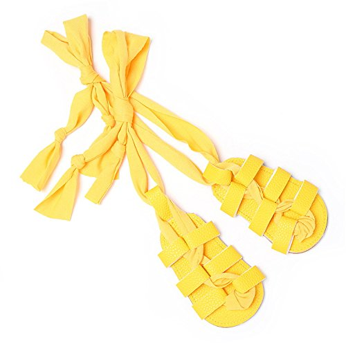 Isbasic Baby Boys Girls Gladiator Sandals Artificial Leather Rubber Sole Roman Lace up Shoes (14-20 Months, A-Yellow)