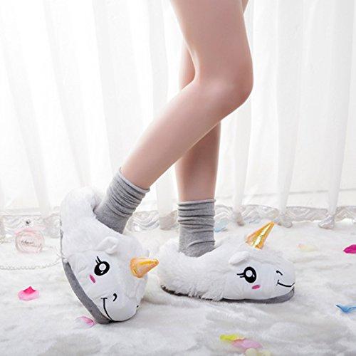 Paire Dessin Animé Pantoufles 1 Licorne Blanc En Chaussures Unisexe Mignon Adultes De Darkcom Maison Chaudes Peluche w4q6gF4xR