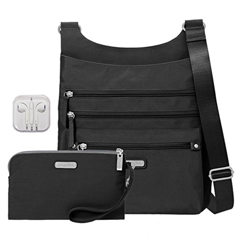 Cross Purse Body Bagg (Baggallini Around Town Crossbody Handbag with RFID Wristlet Bundle with Travel Earphones (Black))