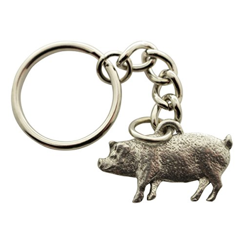Sarah's Treats & Treasures Pig Keychain ~ Antiqued Pewter ~ ()