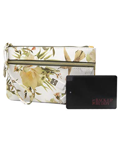 (Mundi Back Up Buddy Womens Wallet Wristlet RFID Blocking With Portable External Phone Charger (Humming Bird Floral))