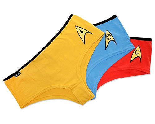 Robe Factory Women's Star Trek OS Uniform Panties Set of 3, Gold, Red, Blue, L -