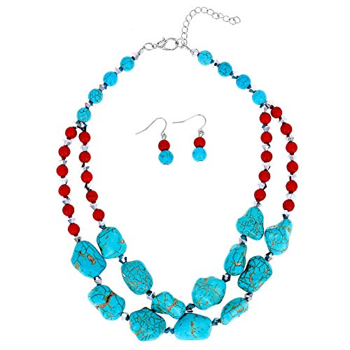 (Comelyjewel Fashion Jewelry Lady Simulated Pearl Beaded Collar Women Necklace and Earrings Set (Turquoise))