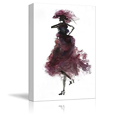 Fashion Lady Woman Concept Purple Dress Watercolor Painting Style Minimalism Art Reproduction