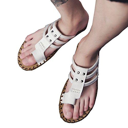 Casual Handmade Authentic Slippers Men Men Sandals Men's 43 Dfb Sandals Trend Slippers White Cool Summer 7PXAwqnR