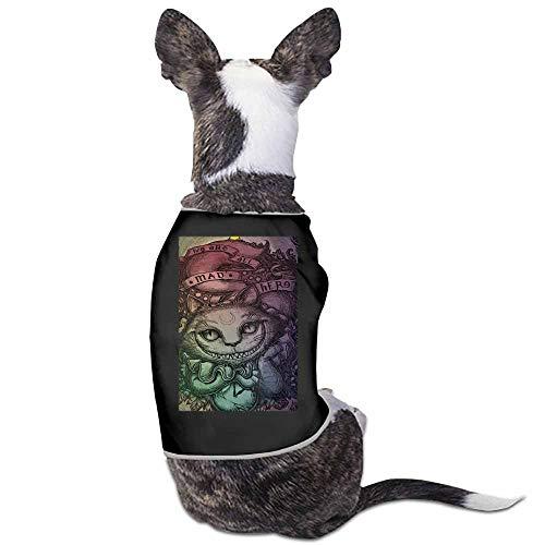 StyleDirect Spring and Summer Pet Dog Clothing Shirt,Alice in Wonderland Cheshire Cat Rainbow Print Dog Costumes Pet Dog Clothes Shirt(Black)-L -