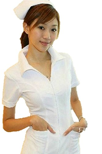 [T2C:Women's White Nurse Cosplay Costume Sexy Dress Uniforme] (Costume Hire Sydney South)