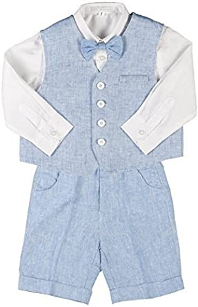 Les Gamins, Traje para Bebés, Azul Claro Traje con Camisa Blanca, Bautizo De Niños Trajes, 9-36 Meses - algodón, Bebé Azul y Blanco, 100% algodón\n 100% algodón, De Niño, 09-12 Meses: Amazon.es: