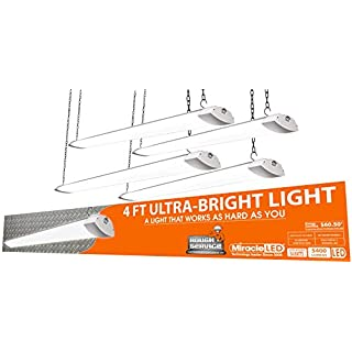 Miracle LED 602033 4-Foot Rough Service Shop Light, 4-Pack, White