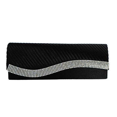 AITING Womens Satin Diamante Pleated Evening Clutch Bag Bridal Handbag Prom Purse (Black-1)
