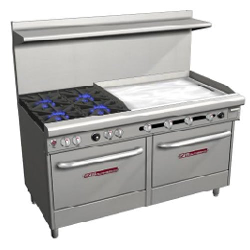 Southbend 4601DD-3TR Range, 60'' Wide, 4 Non-Clog Burners with Standard Grates (3 by South Bend