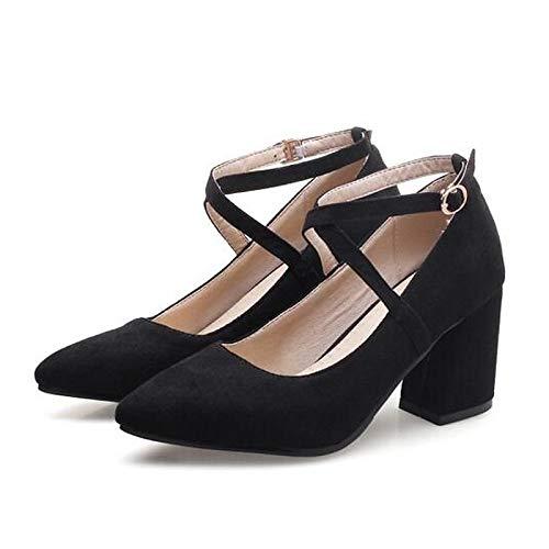 ZHZNVX Zapatos de Mujer Suede Spring Comfort Heels Chunky Heel Black/Pink / Almond Black