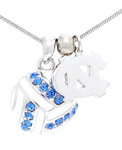 - Violet Victoria & Fan Star UNC TARHEELS VOLLEYBALL NECKLACE - CRYSTAL