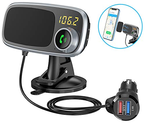 - Comsoon Bluetooth FM Transmitter & Magnetic Phone Car Mount, 2 in 1 Car Kit with Quick Charge 3.0 + 5V/2.4A Smart IC Dual USB Car Charger, 360° Rotatable Dashboard Cell Phone Holder