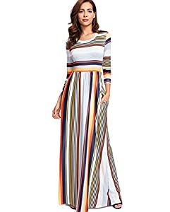 Milumia Women's Casual Long Sleeve Elastic Waist Striped Maxi Dress with Pockets