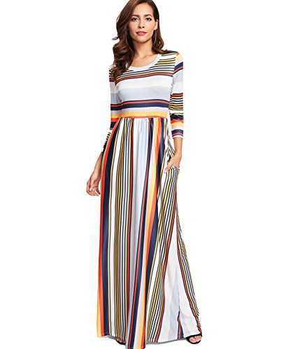 Milumia Women's Casual Long Sleeve Elastic Waist Striped Maxi Dress with Pockets Medium Multicolor -