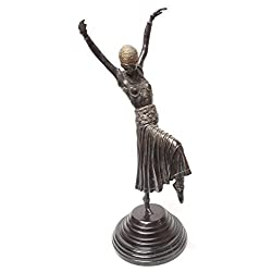 Maitland-Smith 22 Highlighted Verdigris Patina Brass Female Dancer on Black Marble Base 1060-085
